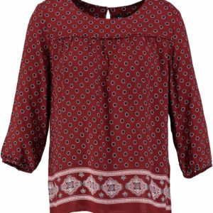 Broadway rode viscose tuniek blouse 3/4 mouw S rood
