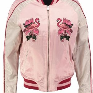 Guess reversible shiny bomber zomer/tussenjas (1 kant roze - andere kant lichtblauw) S multicolor