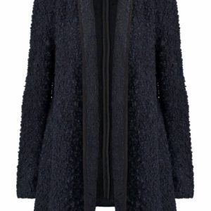 Only donkerblauw boucle wool jacket vest L blauw