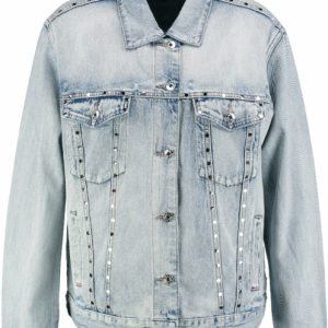 Only relaxed fit denim jack met studs 40 blauw