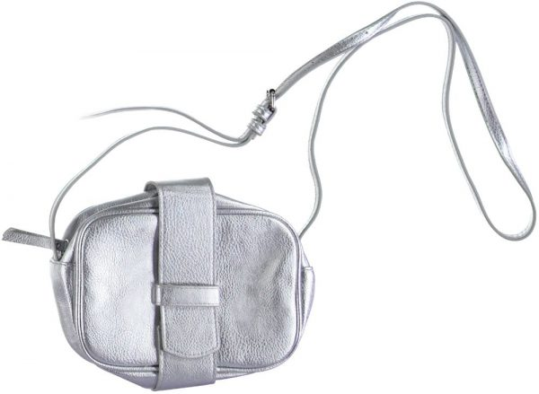 Pieces zilverkleurig crossbody handtasje one size grijs