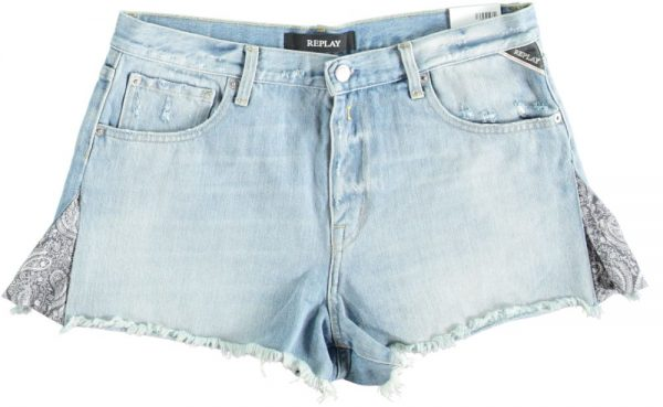 Replay lichtblauw denim short W29 blauw